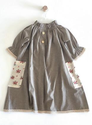 Floral - Checkered - Crew neck -  - Unlined - Khaki - Girls` Dress