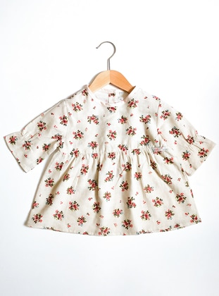 Floral - Crew neck - Cotton -  - Unlined - Cream - Pink - Girls` Blouse