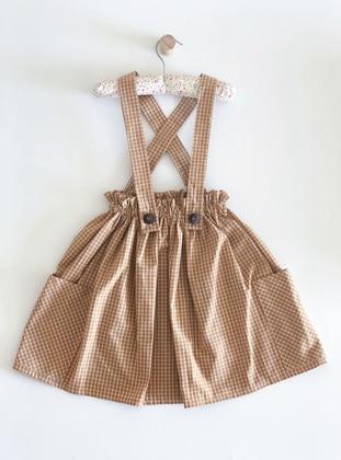 Checkered - Crew neck -  - Unlined - Mustard - Girls` Skirt