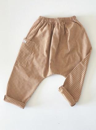 Checkered -  - Unlined - Mustard - Girls` Pants