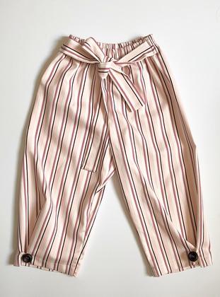 Stripe -  - Unlined - Cream - Pink - Girls` Pants