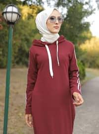 Maroon - Unlined - - Dress