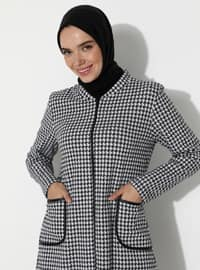 Black - Houndstooth - Unlined - Round Collar - Acrylic -  - Topcoat