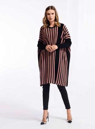 Powder - Black - Stripe - Crew neck - Knit Tunics