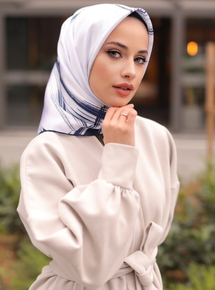 White - Multi - Printed - Scarf -  Şal