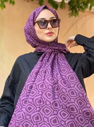 Purple - Printed -  - Shawl