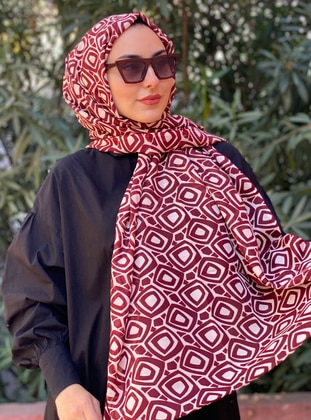 Maroon - Cream - Printed -  - Shawl