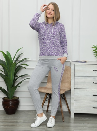 - Gray - Purple - Loungewear Suits - AKBENİZ
