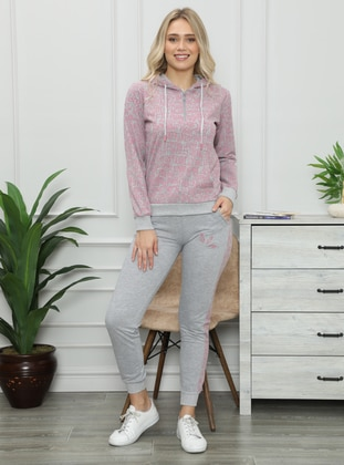 - Gray - Pink - Loungewear Suits - AKBENİZ