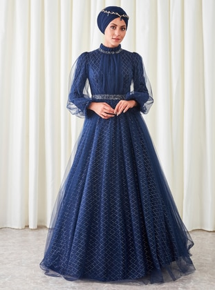 Navy Blue - Fully Lined - Polo neck - Muslim Evening Dress