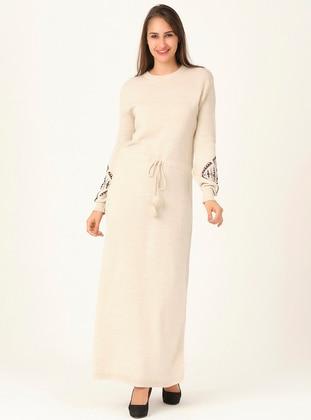 Cream - Unlined - Crew neck - Acrylic -  - Knit Dresses