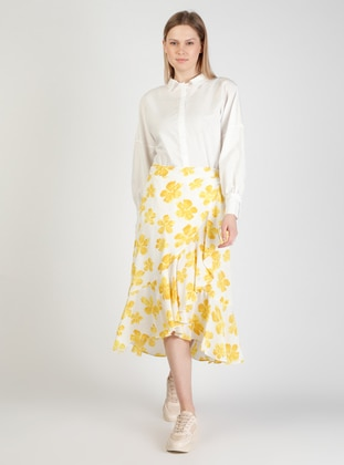 Yellow - Floral - Fully Lined - Skirt