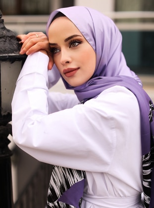 Multi - Lilac - Purple - Printed - Twill - Shawl - Şal