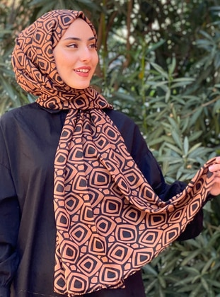 Tan - Printed -  - Shawl