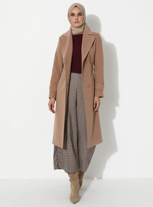 Camel - Fully Lined - Viscose - Coat