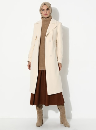 White - Ecru - Fully Lined - Viscose - Coat