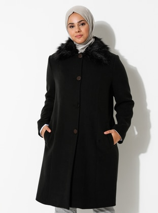 Navy Blue - Fully Lined - Viscose - Plus Size Overcoat