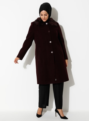 Plum - Fully Lined - Viscose - Plus Size Overcoat