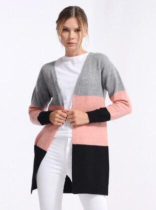 Black - Stripe - Acrylic - - Knit Cardigans