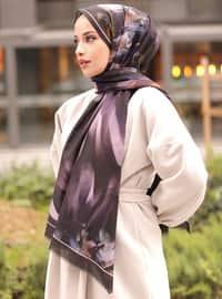 Multi - Lilac - Purple - Black - Printed - Cotton - - Shawl - Şal