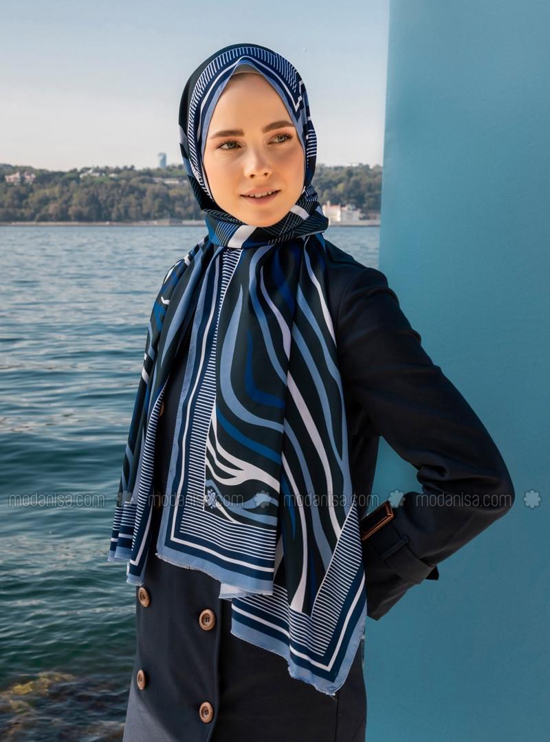 Multi - Navy Blue - Striped - Printed - Geometric - Twill - Shawl - Şal