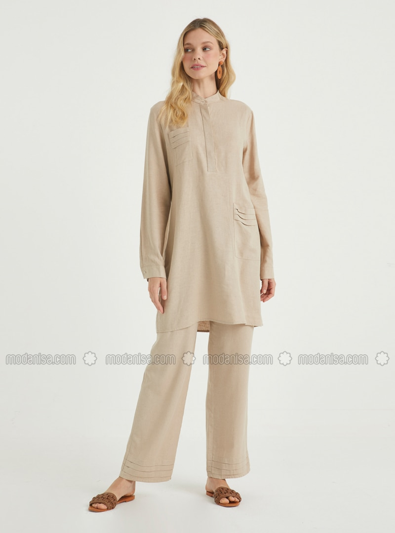 Cream - Unlined - Linen - Viscose - Suit