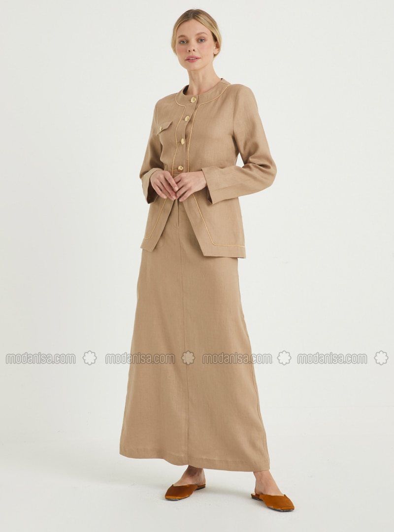 Camel - Fully Lined - Linen - Suit