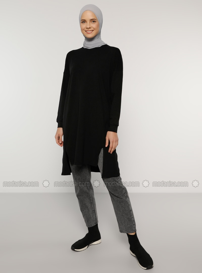 Black - Crew neck - Cotton - Tunic - Everyday Basic