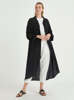 Black - Stripe - Unlined - Point Collar - Topcoat