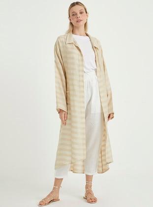 Beige - Stripe - Unlined - Point Collar - Topcoat