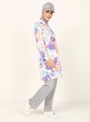 Ecru - Purple - Multi - Tunic