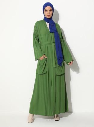Khaki - Ethnic - Unlined - Shawl Collar -  - Abaya
