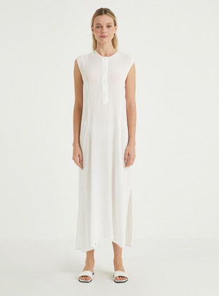 White - Crew neck - Unlined - Viscose - Dress
