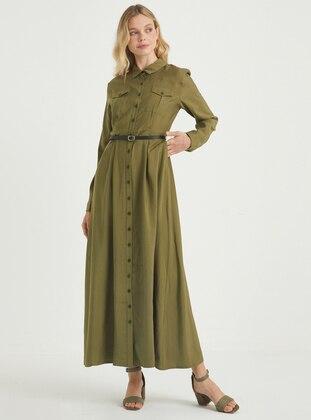Khaki - Crew neck - Point Collar - Unlined - Viscose - Dress