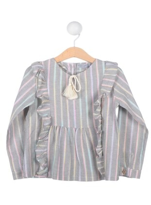 Stripe - Crew neck - Gray - Girls` Tunic