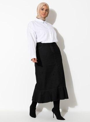 Black - Unlined - Denim - Plus Size Skirt