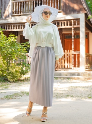 Gray - Unlined - Skirt - Tofisa