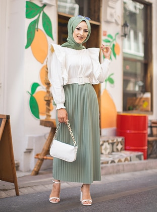 Green - Unlined - Skirt - Tofisa