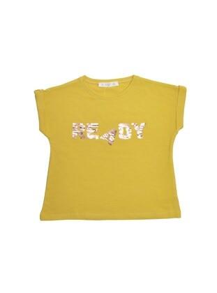 Crew neck - Mustard - Girls` T-Shirt