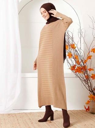 Camel - Unlined - Crew neck - Acrylic - - Knit Dresses