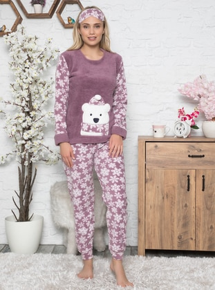 Lilac - Crew neck - Multi - Pyjama Set - Fawn