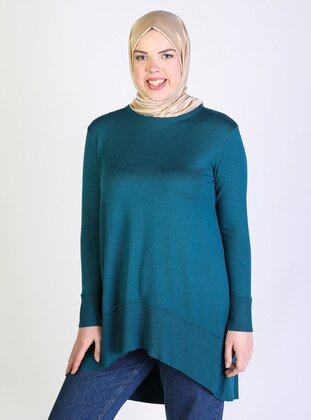 Petrol -  - Viscose - Crew neck - Plus Size Knit Tunics