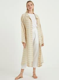 Beige - Stripe - Unlined - Point Collar - Topcoat