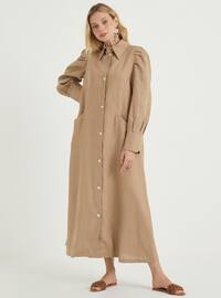 Camel - Point Collar - Unlined - Linen - Dress