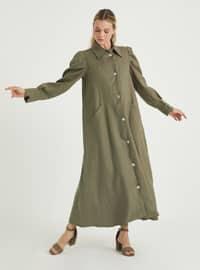 Khaki - Point Collar - Unlined - Linen - Dress