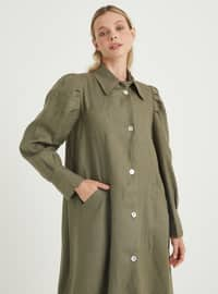 Khaki - Point Collar - Unlined - Linen - Dress