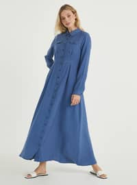 Indigo - Crew neck - Point Collar - Unlined - Viscose - Dress