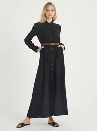 Black - Crew neck - Point Collar - Unlined - Viscose - Dress
