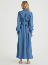 Indigo - Point Collar - Unlined - Viscose - Dress