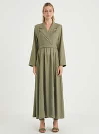 Khaki - Point Collar - Unlined - Linen - Viscose - Dress